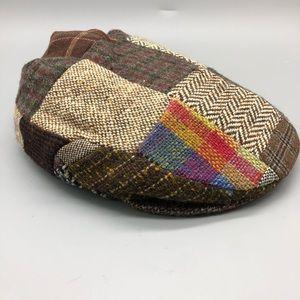 Vintage 100% wool Irish tweed patchwork hat cap